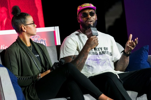 Former NFL player Martellus Bennett speaks during a discussion on athletes and activism at the Entertainment and Sports Arena in southeast D.C. on May 30. (Kristoffer Tripplaar/The Atlantic)