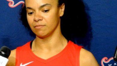 Washington Mystics guard Kristi Toliver speaks with reporters during the team's 2019 media day at the Entertainment and Sports Arena in southeast D.C. on May 6. (John E. De Freitas/The Washington Informer)