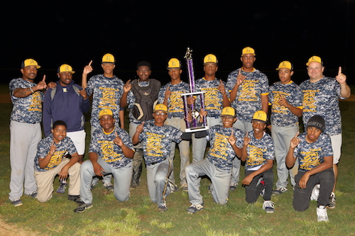 The Riverdale Baptist Crusaders baseball team pose with the trophy after winning the 2019 MISAL baseball championship. (Courtesy of Marlon Bovell)