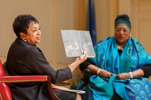 Librarian of Congress Carla Hayden (left) and renowned operatic singer Jessye Norman discusses some of the items Norman donated to the library. (Courtesy of the Library of Congress)