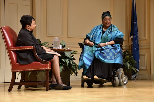 Librarian of Congress Carla Hayden (left) converses with Jessye Norman during an event at the Library of Congress in Southeast on May 16. (Rob Roberts/The Washington Informer)