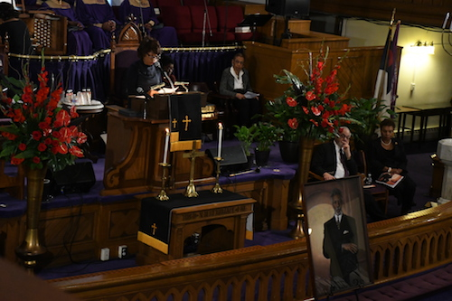 Rep. Maxine M. Waters talks about working with Ronald V. Dellums on laws, bills and other programs that affected all Americans during a May 10 memorial service for Dellums in northwest D.C. (Roy Lewis/The Washington Informer)