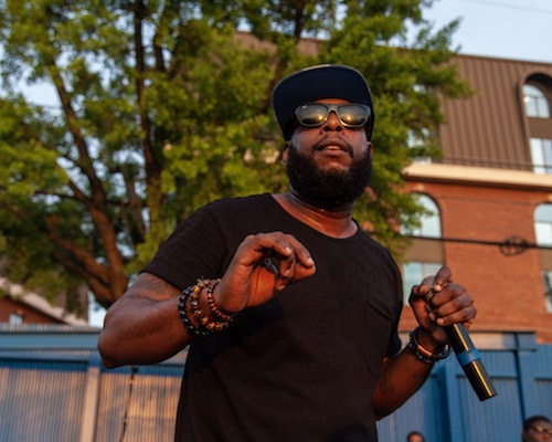 Rapper Talib Kweli performs during The Last Poets Block party in southeast D.C. on May 19. (Courtesy of The Last Poets)