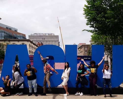 Youth throughout the District of Columbia joined the ACLU on May 17 for their voice in the change they are making in their schools and communities through advocacy, organizing and service at #aclu100. (Courtesy of Samantha Davis/Black Swann Academy via Facebook)