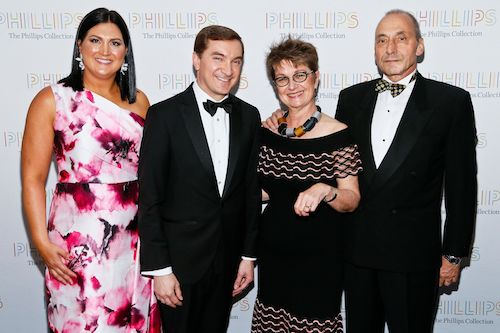 From left: Co-Chairs Josh and Sarah Eastright, The Phillips Collection Vradenburg Director and CEO Dorothy Kosinski and Thomas Krähenbühl attend the Phillips Collection's annual gala at Union Market in northeast D.C. on May 10. (Courtesy of Paul Morigi/The Phillips Collection)