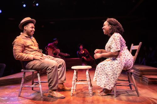 "From left: Drew Drake, Jonathan Mosley-Perry, Iyona Blake and Ines Nassara star in ""Spunk"" at Signature Theater. (Courtesy of Christopher Mueller/Signature Theatre)"