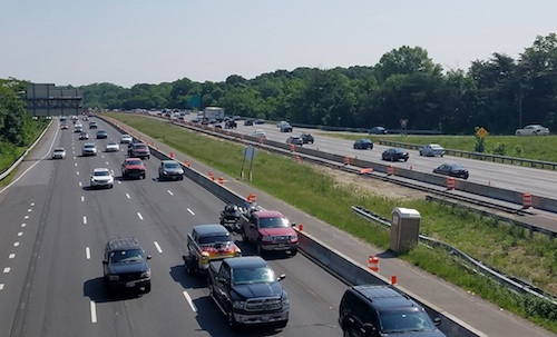 Vehicles travel along Interstate 495 in Morningside, Maryland, on May 19. (William J. Ford/The Washington Informer)