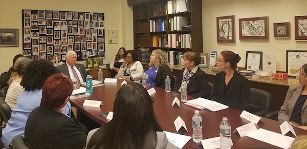 Rep. Steny Hoyer (center) leads an April 25 discussion in Upper Marlboro with service providers on ways to help victims in domestic violence and other situations as part of the House's approval to reauthorize the Violence Against Women Act. (William J. Ford/The Washington Informer)