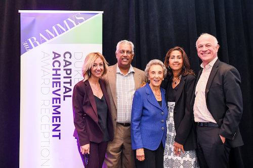 From left: Kathy Hollinger, Kamal Ali, Virginia Ali, Sonya Ali and David Moran celebrate Virginia Ali's receipt of the Duke Zeibert Capital Achievement Award for decades of service. (Courtesy of Ana Isabel Photography)