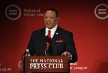 """National Urban League President and CEO Marc H. Morial issues the annual """"State of Black America"""" report at the National Press Club in northwest D.C. on May 6. (Roy Lewis/The Washington Informer)"""
