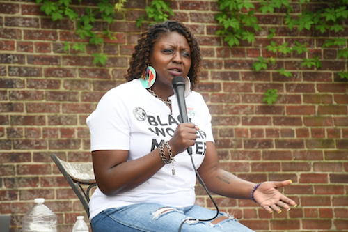 Qiana Johnson, founder of Life after Release, during the inaugural Black Mothers Bailout event in southeast D.C. on May 4 (Roy Lewis/The Washington Informer)