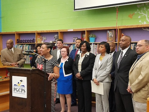 Monica Goldson (at podium), interim CEO for Prince George's County public schools, speaks during a press conference at Beacon Heights Elementary School on April 12. (William J. Ford/The Washington Informer)