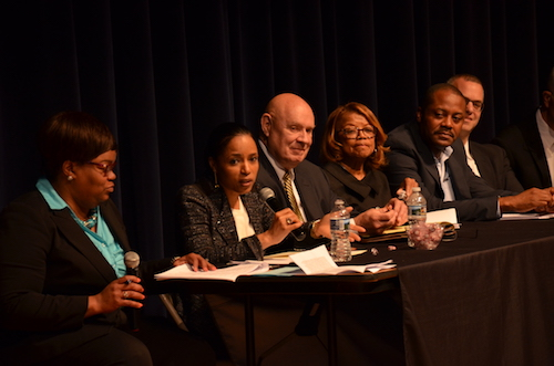 About 80 people signed up to speak about Prince George's County search for a permanent public schools CEO during a public hearing at Charles H. Flowers High School in Springdale on May 13. (William J. Ford/The Washington Informer)
