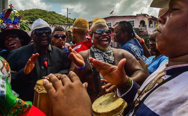 Revelers take part in the 'Congos and Devils' carnival festival in Nombre de Dios, 120 km north of Panama City on March 6, 2019. The celebration dates back to the colonial times with 'congos' representing African slaves and 'devils', the Spanish conquerors. (LUIS ACOSTA/AFP/Getty Images)