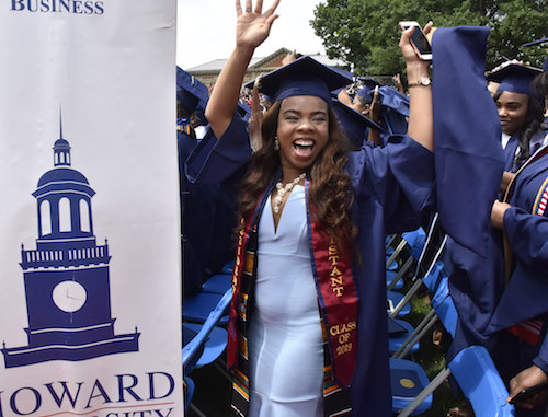 A Howard University student from the graduation class of 2019 celebrates during the commencement ceremony at the D.C. campus on May 11. (Robert Roberts/The Washington Informer)