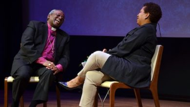 """The Most Reverend Michael B. Curry, presiding bishop and primate of the Episcopal Church, speaks with Michel Martin, weekend host of """"All Things Considered"""" on National Public Radio, at the Smithsonian National Museum of African American History and Culture in D.C. on April 10. (Anthony Tilghman/The Washington Informer)"""