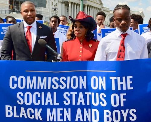 Rep. Sheila Jackson Lee (center) attend a May 15 press conference on Capitol Hill to announce a bill calling for the creation of the Commission on the Social Status of Black Men and Boys. (Anthony Tilghman/The Washington Informer)