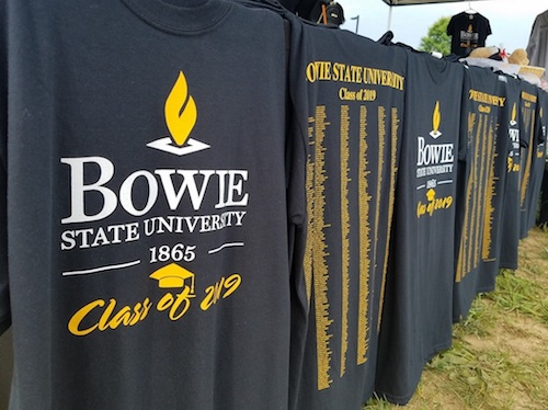 Bowie State University Class of 2019 T-shirts line a table outside of Bulldog Stadium on the campus on May 17, the day of the university's spring commencement ceremony. (William J. Ford/The Washington Informer)
