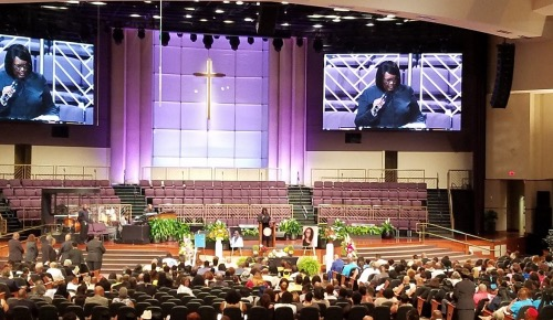 Family and friends celebrate the life of Cynthia Day, who died May 30 with fiancé Nathaniel Holmes while vacationing in the Dominican Republic, during a memorial service at First Baptist Church of Glenarden in Upper Marlboro, Maryland, on June 24. (William J. Ford/The Washington Informer)