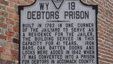 A landmark sign of an old debtor's prison in Virginia (Courtesy of Clyde Fitch Report)