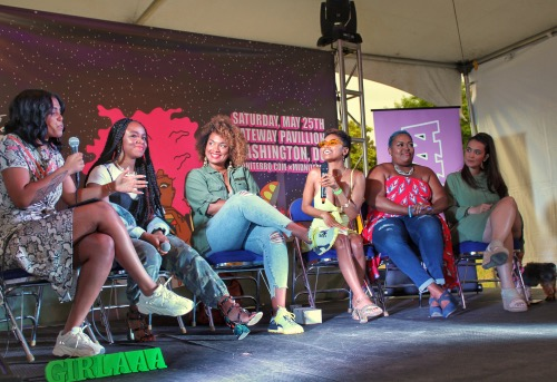 """From left: The """"Wonder Woman"""" panel moderated by DJ DOMO consisted of D.C. natives Gia Peppers, Kim Tignor, London Zhiloh, Poet Taylor and Kim Osorio and was hosted by Girlaaa creators. (Brigette Squire/The Washington Informer)"""