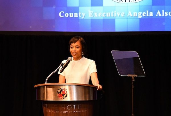 Prince George's County Executive Angela Alsobrooks gives her first State of the County address at The Hotel at the University of Maryland in College Park on June 11. (Anthony Tilghman/The Washington Informer)
