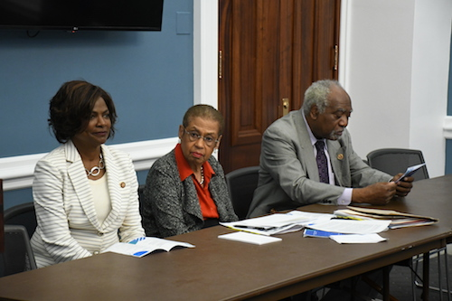 From left: Rep. Val Demings (D-Fla.), joins co-hosts Reps. Eleanor Holmes Norton (D-D.C.) and Danny K. Davis (D-Ill.) for the Congressional Black Caucus Black Men and Boys hearing at the U.S. Capitol on June 20. (Roy Lewis/The Washington Informer)