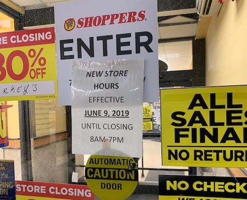 Signs indicate final days for popular Shoppers Food. (Courtesy photo)