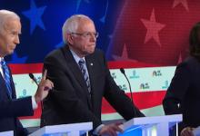 From left: Joe Biden, Bernie Sanders and Kamala Harris participate in a Democratic candidates debate in Miami on June 27.