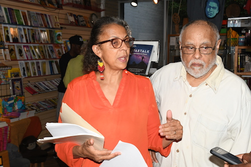 Haile and Shirikiana Aina Gerima, owners of Sankofa Video, Books and Café, host a rally and concert on June 1 in support of their fight for tax abatement to ease the financial tax burden facing the café. (Roy Lewis/The Washington Informer)
