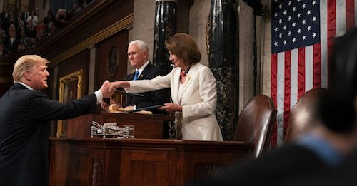 President Donald J. Trump shakes hands with House Speaker Nancy Pelosi before delivering his State of the Union address at the U.S. Capitol in Washington, D.C., on Feb. 5, 2019. (Official White House Photo by D. Myles Cullen)