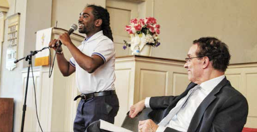 """D.C. Council members Vincent Gray (right) and Trayon White offer their opinions on whether """"East of the River"""" should be changed to """"East End"""" during a forum at the Garden Memorial Presbyterian Church in Southeast on May 29, hosted by the Anacostia Coordinating Council, Inc. (Brigette Squire/The Washington Informer)"""