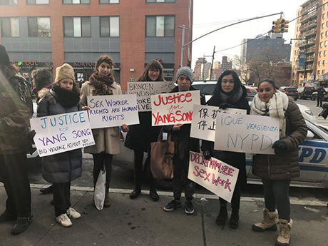 Protesters voice their views. (Courtesy of The Sex Workers Project)