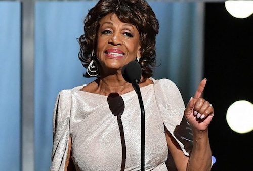 Rep. Maxine Waters receives the 2019 NAACP Chairman's Award from Leon W. Russell, chairman of the NAACP National Board of Directors, during the 50thNAACP Image Awards on March 30. (Courtesy of Black Press USA)
