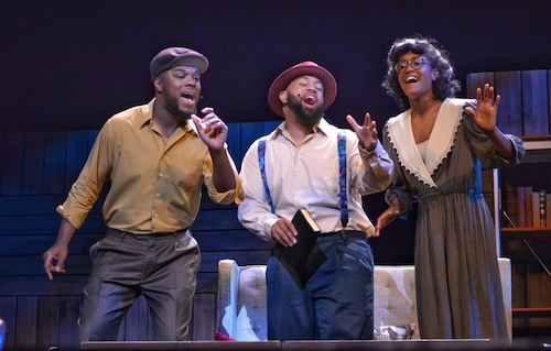 "From left: Jevone Levi, Javarde Seay and Jordan White star in Dennis Williams' ""I've Cried the Blues: The Musical Story of a Lifetime"" at the Warner Theatre in D.C. on June 8. (Brigette Squire/The Washington Informer)"