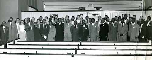 Blacks and whites gather on the campus of Southern Baptist Theological Seminary in 1950 for the first South-wide conference of Baptists for racial reconciliation. (Southern Baptist Historical Library and Archives)