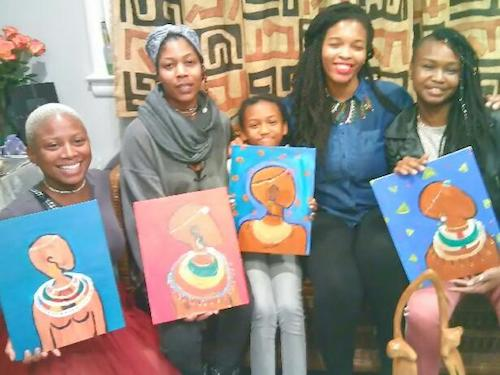 Jamila Thompson (second from right) with supporters at a March sip-and-paint event for MedAse and Sadiki (Courtesy photo)