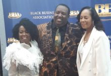 """The Black Business Association celebrated gospel music by honoring Vicki Macklataillade, Byron J. Smith and Lisa Collins during its recent """"Salute to Black Music"""" awards dinner. (Courtesy photo)"""