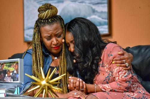 "Y'anna Crawley (left) and Lisa Renee Marshall star in the play ""Confessions of a Side Chick"" at the Lincoln Theatre on July 20. (Brigette Squire/The Washington Informer)"