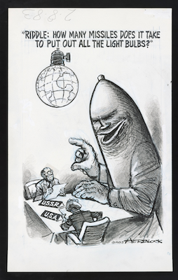 "Herblock (1909–2001). ""Riddle: How Many Missiles Does it Take to Put Out All the Light Bulbs?,"" 1983. Crayon, graphite, India ink, opaque white, and porous point pen with overlays over blue pencil under drawing. Herbert L. Block Collection, Prints and Photographs Division, Library of Congress. (Photo courtesy/Herb Block Foundation)"