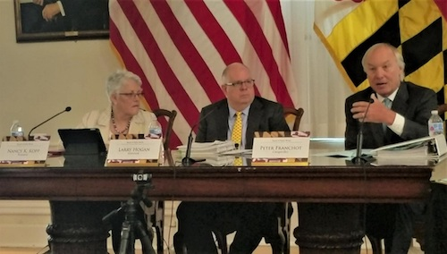 Maryland Gov. Larry Hogan (center), comptroller Peter Franchot (right) and Treasurer Nancy Kopp, who make up the Board of Public Works, hold a meeting in Annapolis on July 3. (William J. Ford/The Washington Informer)