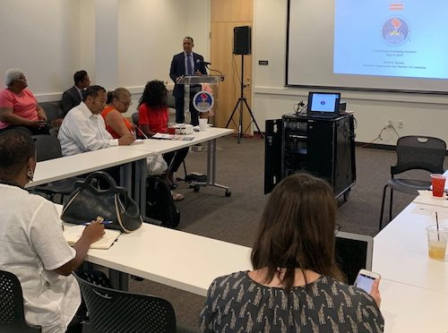 D.C. Attorney General Karl Racine leads community listening session on civil rights at the Emery Heights Community Center in Northwest. (WI photo)