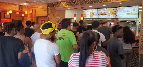 Customers pack Popeyes restaurant in Chesterfield County, Virginia, amid the recent frenzy over the restaurant's new chicken sandwich. (Dorothy Rowley/The Washington Informer)