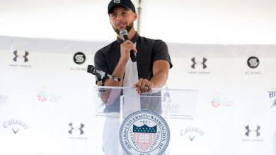 NBA superstar Stephen Curry speaks during a event to announce the launch of Howard University's golf program at Langston Golf Course & Driving Range in northeast D.C. on Aug. 19. (Anthony Tilghman/The Washington Informer)