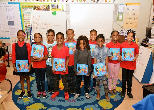 Students from Martin Luther King Jr. Elementary School who were characters in books produced by the Living Storybook project (Courtesy of Do the Write Thing)