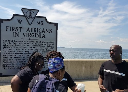 Thousands of people, including this group from Africa, traveled to Fort Monroe in Hampton, Va., the weekend of Aug. 23-25, 2019, in remembrance of the first enslaved Africans brought in 1619 to North America. (Dorothy Rowley/The Washington Informer)