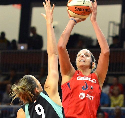 Washington Mystics forward Elena Delle Donne elevates to shoot over New York Liberty guard Rebecca Allen during the Mystics' 101-72 win at Entertainment and Sports Arena in D.C. on Sunday, Aug. 25. (John E. De Freitas/The Washington Informer)