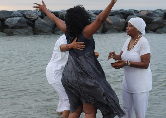 A spiritual cleansing ceremony at Buckroe Beach on Aug. 24 marked the 400-year commemoration of the first landing enslaved Africans at Fort Comfort, Va. (DR Barnes/The Washington Informer)