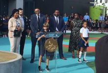 Mayor Muriel Bowser and Chancellor Lewis Ferebee participate in an Aug. 26 ribbon-cutting ceremony at the newly modernized Maury Elementary School in Ward 6. The building includes new classrooms that will serve up to 540 students. (Courtesy of DCPS via Twitter)