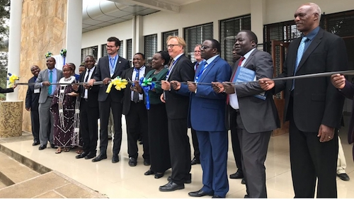 Tanzania's Education minister Joyce Nda- lichako (in green jacket), alongside different development partners, commissions the new Centre of Excellence for ICT in East Africa (CENIT) in Arusha, Tanzania on Friday, Aug. 23. (Photo by Gashegu Muramira)